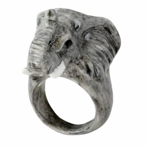Anello in porcellana Elefante Africano Tg. L