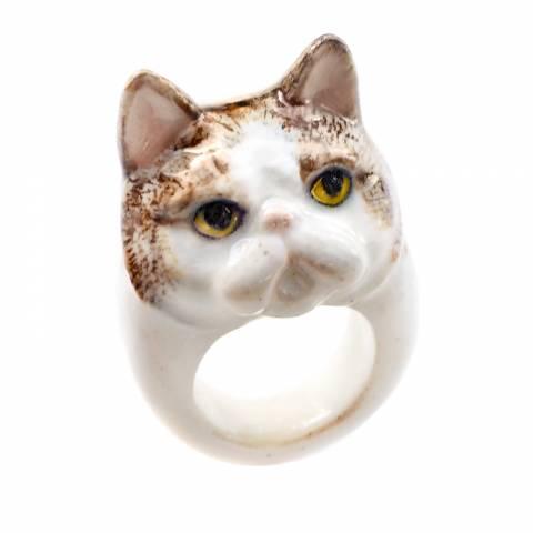 Anello in porcellana Gatto bianco e marrone tg. M