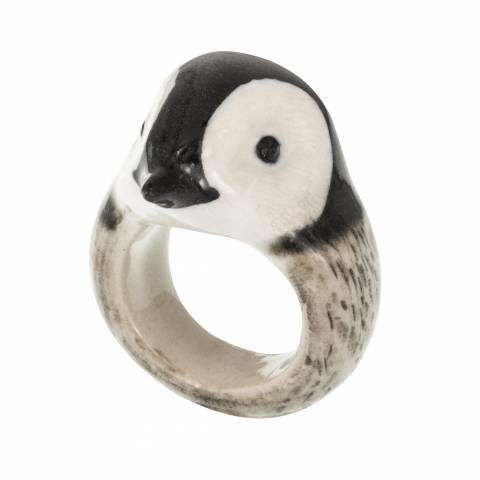 Anello in porcellana Pinguino tg. M