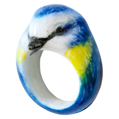 Anello in porcellana uccello Cinciarella blu Tg. L