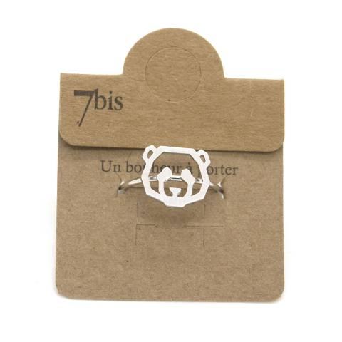 Anello regolabile argento testa di panda
