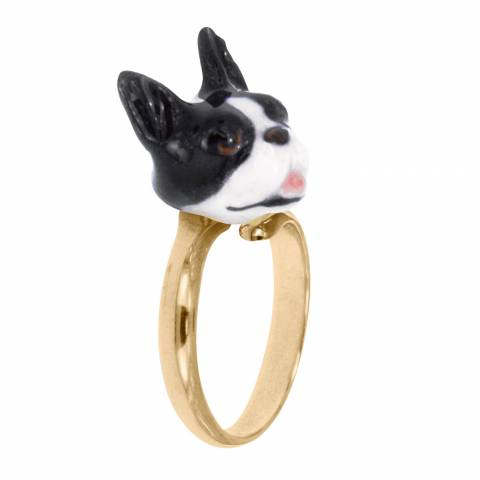Anello regolabile in porcellana placcato oro cane French Bulldog