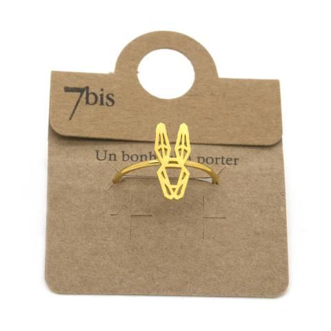Anello regolabile oro coniglio stilizzato