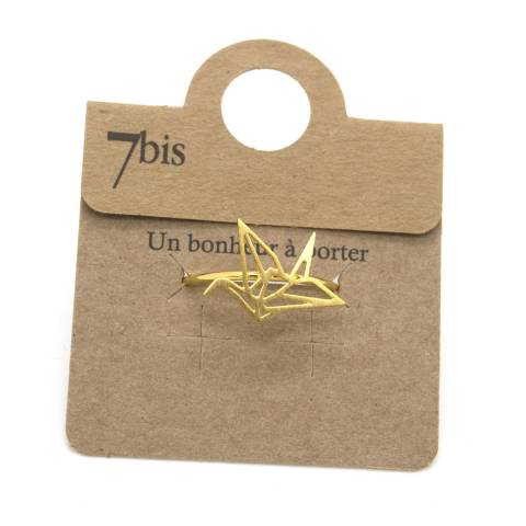 Anello regolabile oro uccello gru origami