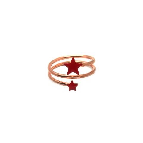 Anello regolabile spirale argento 925 oro rosa stelle rosse