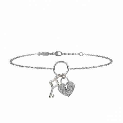 Bracciale argento 925 Cuore Lucchetto Chiave brillanti