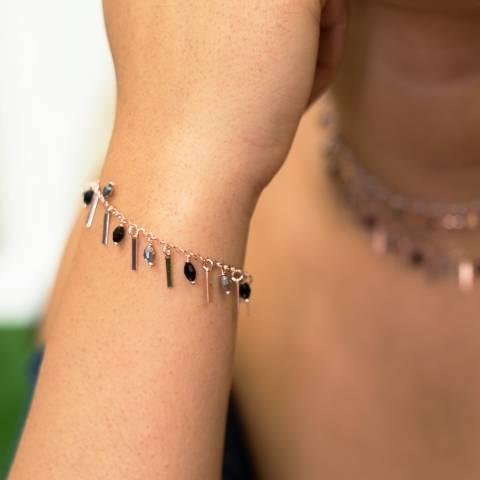 Bracciale argento 925 oro rosa Barrette e Zirconi