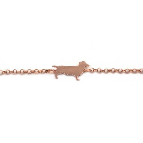 Bracciale argento 925 oro rosa Cane Bassotto