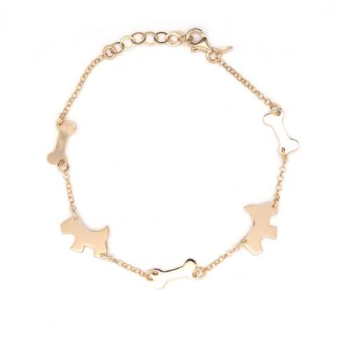 Bracciale argento 925 oro rosa ciondoli Cane e Osso