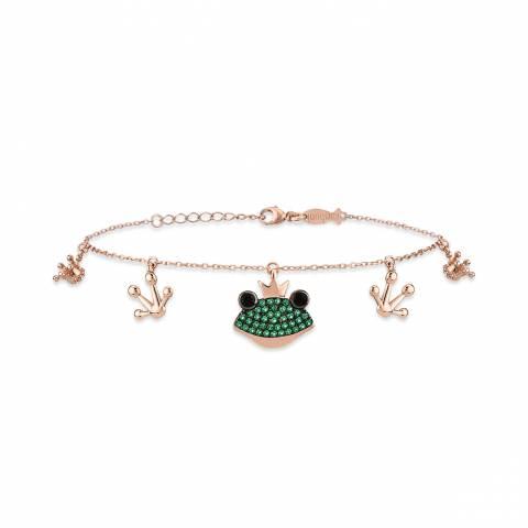 Bracciale argento 925 oro rosa ciondoli Principe Ranocchio brillanti verdi