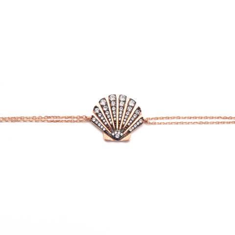Bracciale argento 925 oro rosa Conchiglia brillanti