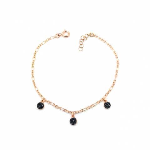 Bracciale argento 925 oro rosa Drops