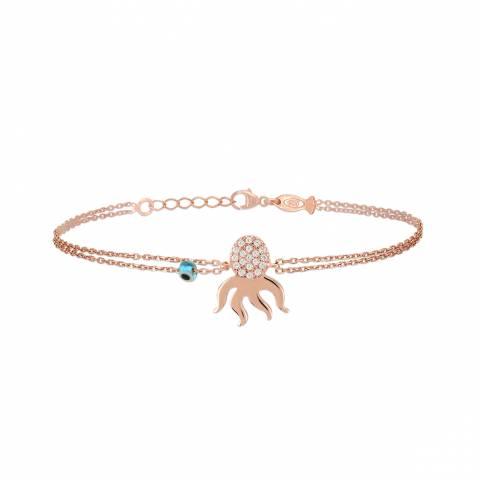 Bracciale argento 925 oro rosa Polpo brillanti