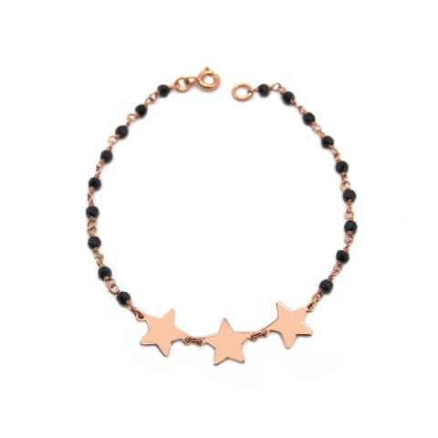 Bracciale argento 925 oro rosa rosario Spinelli neri e 3 stelle