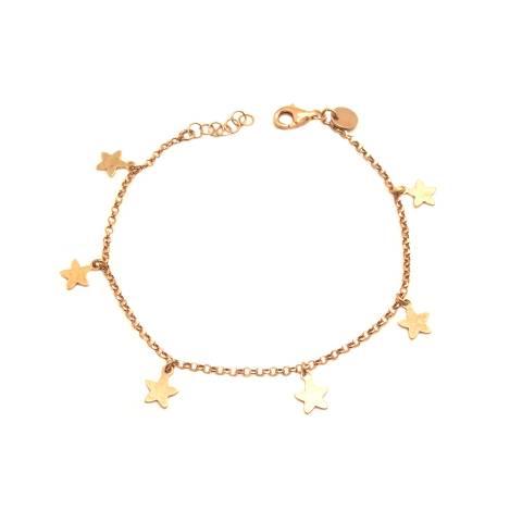 Bracciale argento 925 oro rosa stelline