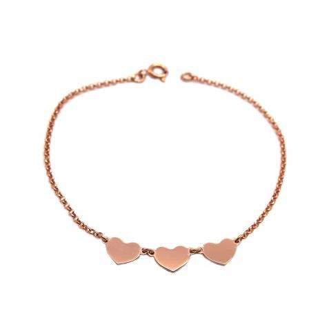 Bracciale argento 925 oro rosa Tre cuori