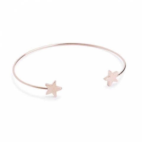 Bracciale bangle semirigido oro rosa stelle