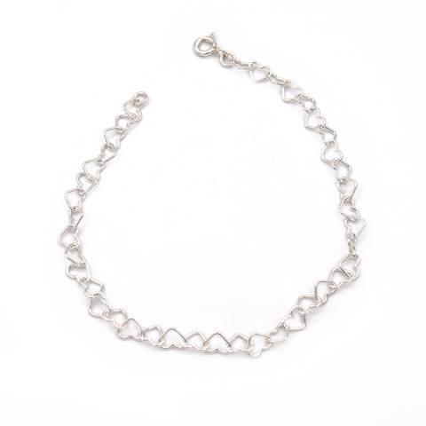 Bracciale con maglia a cuore piccolo argento 925