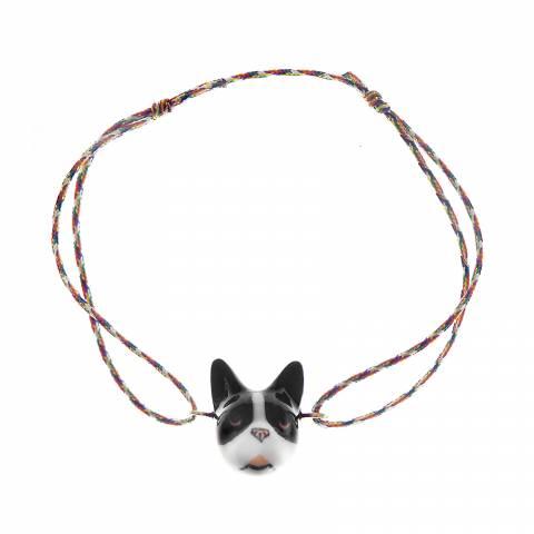 Bracciale cordino regolabile cane French Bulldog porcellana