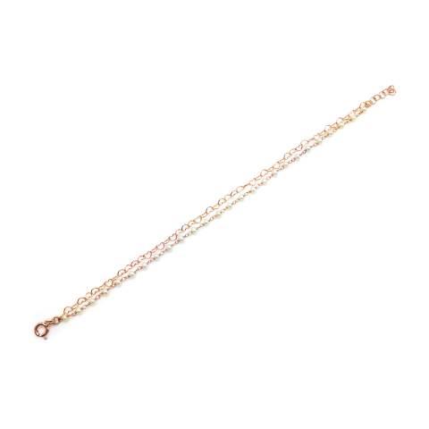 Bracciale doppio rosario argento 925 oro rosa Perle e catena micro cuori
