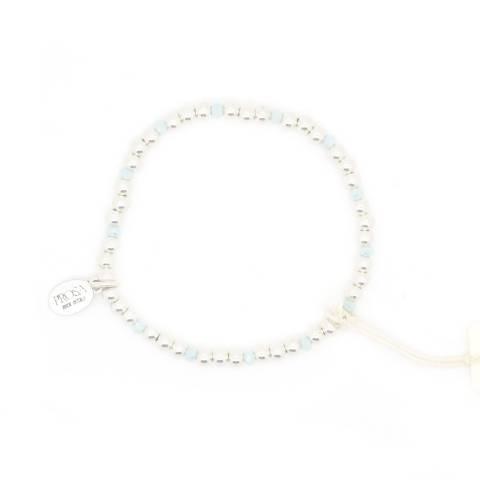 Bracciale elasticizzato palline argento e perline azzurre