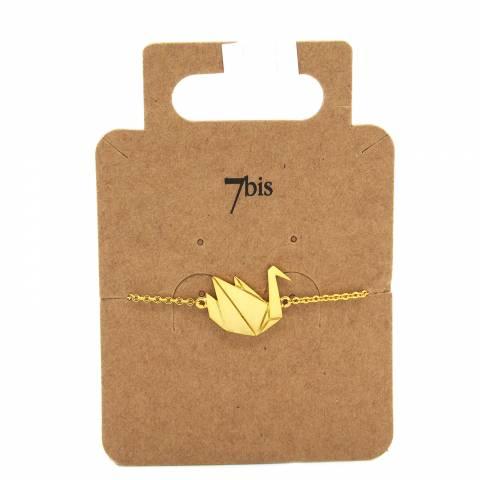 Bracciale oro ciondolo cigno origami