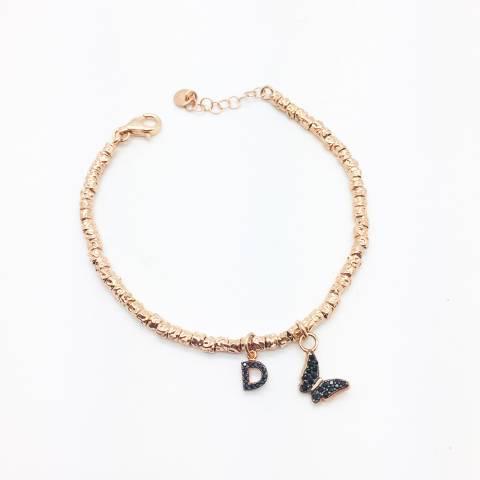 Bracciale pepite argento 925 oro rosa Butterfly