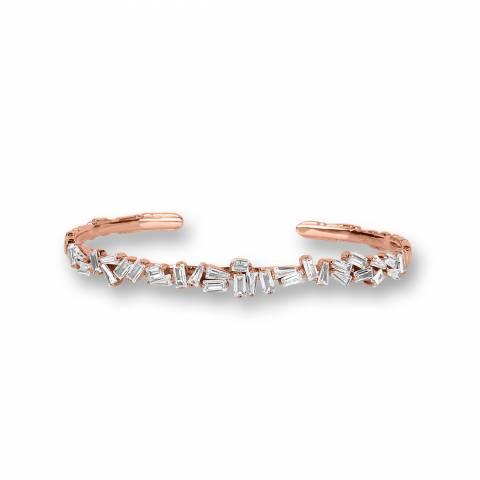 Bracciale rigido bangle argento 925 oro rosa brillanti
