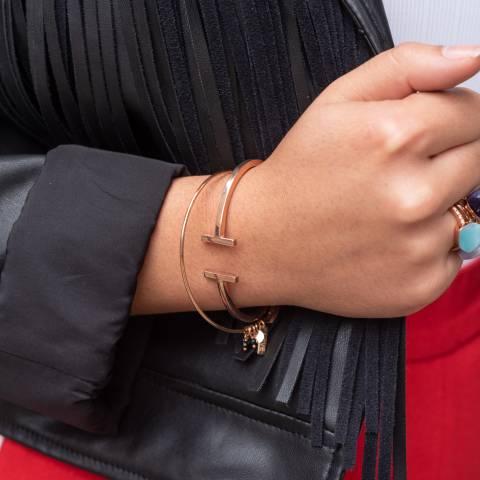 Bracciale rigido bangle argento 925 oro rosa Doppia Barretta