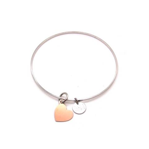 Bracciale rigido bangle argento con cuore oro rosa