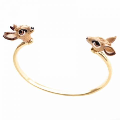 Bracciale rigido bangle oro Bambi in porcellana