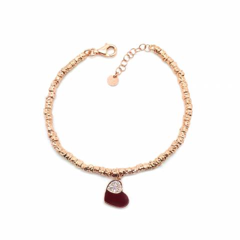 Bracciale rondelle argento 925 oro rosa Ruby Heart
