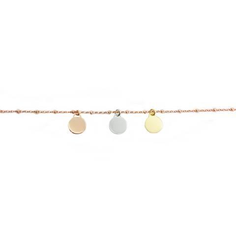 Bracciale rosario argento 925 oro rosa 3 mini dischi