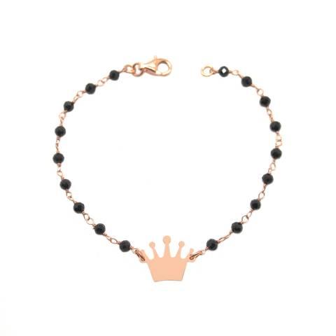 Bracciale rosario argento 925 oro rosa Spinelli neri e corona oro rosa