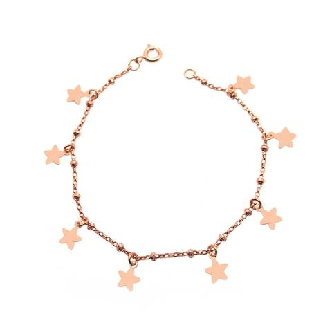 Bracciale rosario argento 925 oro rosa Tutto Stelle
