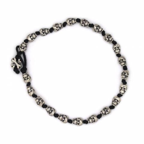 Bracciale uomo/donna pelle nera teschi argento 925