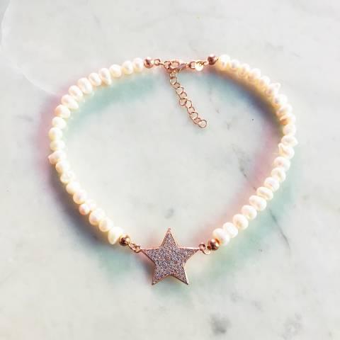 Cavigliera perle maxi stella Zirconi
