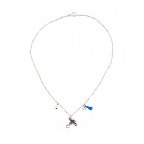 Collana argento 925 Aereo, stelle e nappina