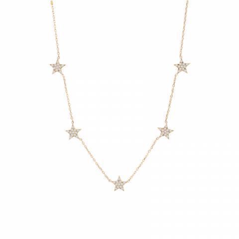 Collana argento 925 oro rosa 5 Stelle brillanti