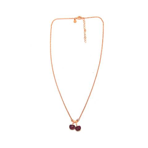 Collana argento 925 oro rosa Ciliegie Zirconi