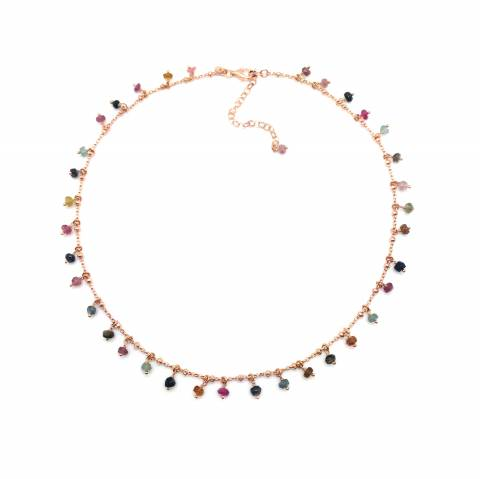 Collana argento 925 oro rosa con pietre Tormalina multicolor pendenti