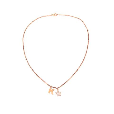 Collana argento 925 oro rosa lettera iniziale nome e stella Zirconi