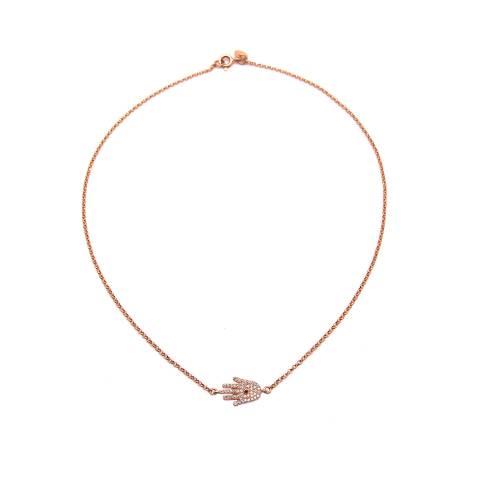 Collana argento 925 oro rosa Mano di Fatima Hamsa Zirconi