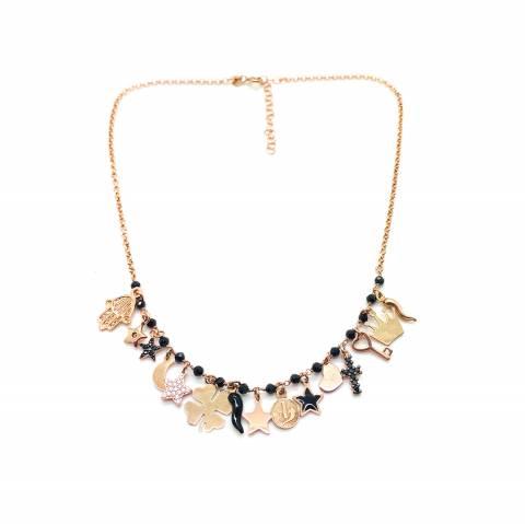 Collana argento 925 oro rosa multi charms