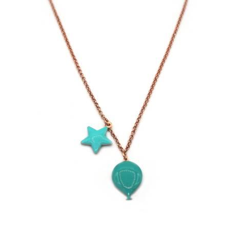 Collana argento 925 oro rosa palloncino e stella smalto verde Tiffany