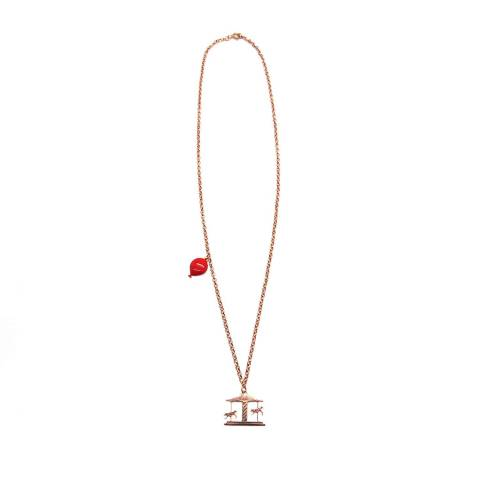 Collana argento 925 oro rosa palloncino rosso e giostra