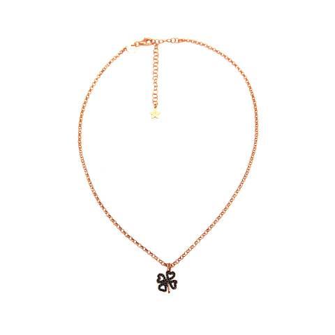 Collana argento 925 oro rosa Quadrifoglio Zirconi neri