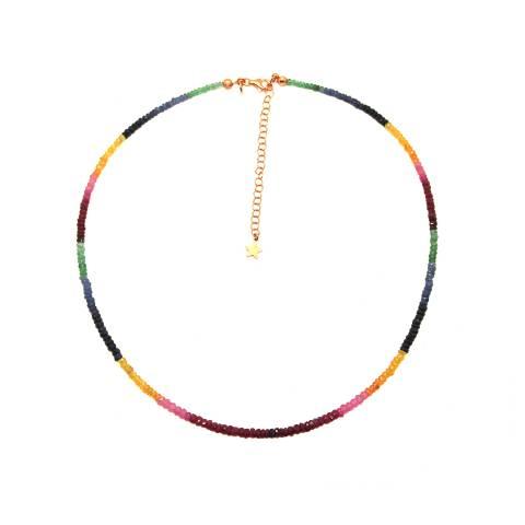 Collana argento 925 oro rosa Tormalina multicolor