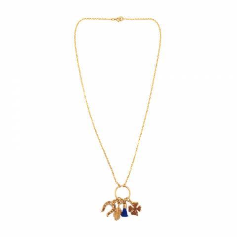 Collana argento 925 placcato oro ciondoli e nappina