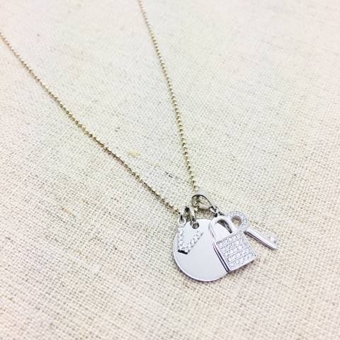 Collana argento 925 Regina con lettera iniziale nome Zirconi